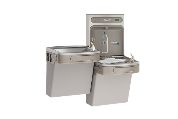 Elkay EZH2O Bottle Filling Station & Versatile Bi-Level ADA Cooler, Filtered Non-Refrigerated Light Gray