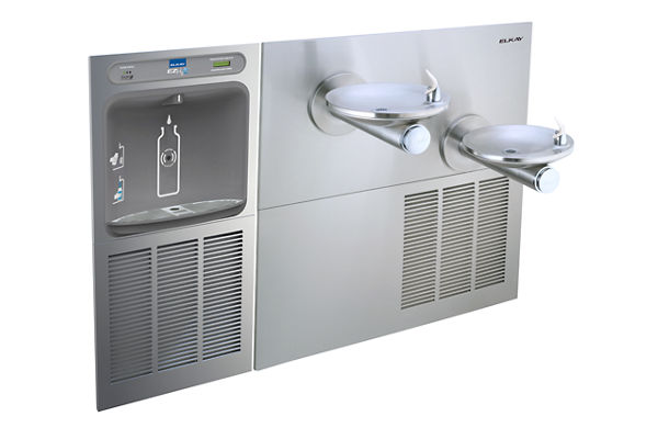 Filtered EZH2O® Bottle Filling Station with SwirlFlo® Green Bi-Level Refrigerated Fountain