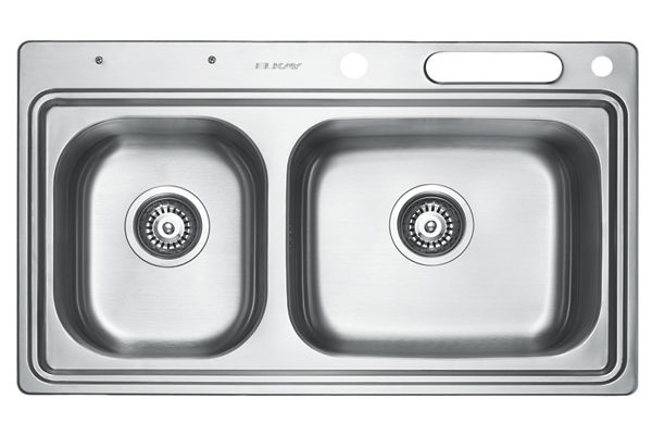 Stainless Steel 831 x 490 x 216 Double Bowl Top Mount Kitchen Sink