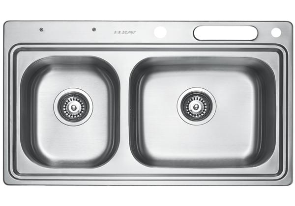 Image for Stainless Steel 831 x 490 x 216 Double Bowl Top Mount Kitchen Sink from Elkay Middle East