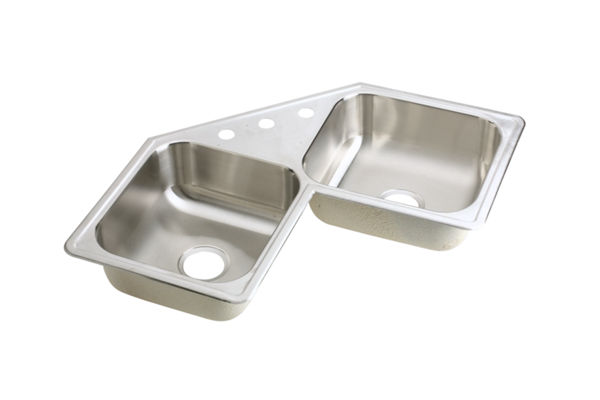 "Elkay Neptune Stainless Steel 31-7/8"" x 31-7/8"" x 7"", Double Bowl Corner Sink"