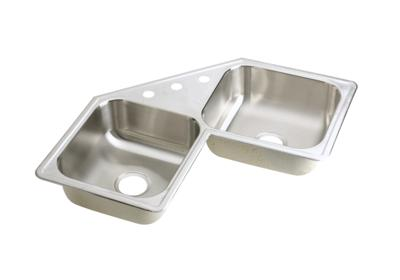 "Image for Elkay Neptune Stainless Steel 31-7/8"" x 31-7/8"" x 7"", Double Bowl Corner Sink from ELKAY"