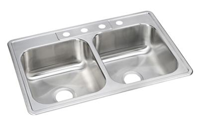 "Image for Elkay Neptune Stainless Steel 33"" x 22"" x 8-1/16"", Double Bowl Top Mount Sink from ELKAY"