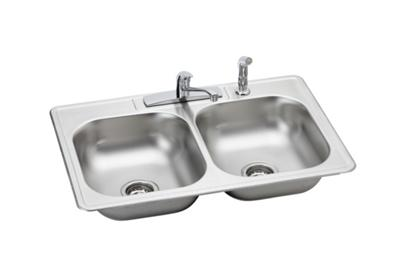 "Image for Elkay Neptune Stainless Steel 33"" x 22"" x 7-1/16"", Double Bowl Top Mount Sink + Faucet Kit from ELKAY"