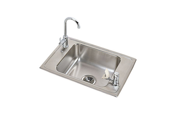 "Elkay Celebrity Stainless Steel 25"" x 17"" x 7-1/8"", Single Bowl Drop-in Classroom Sink and Faucet / Bubbler Kit"