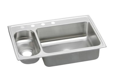 "Image for Elkay Pacemaker Stainless Steel 33"" x 22"" x 7-1/4"", 30/70 Double Bowl Top Mount Sink from ELKAY"