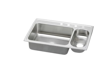"Image for Elkay Pacemaker Stainless Steel 33"" x 22"" x 7-1/4"", 70/30 Double Bowl Top Mount Sink from ELKAY"