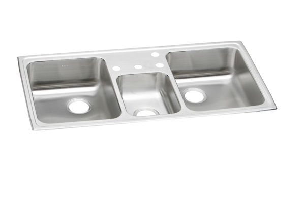 "Elkay Celebrity Stainless Steel 43"" x 22"" x 7-1/8"", Triple Bowl Drop-in Sink"