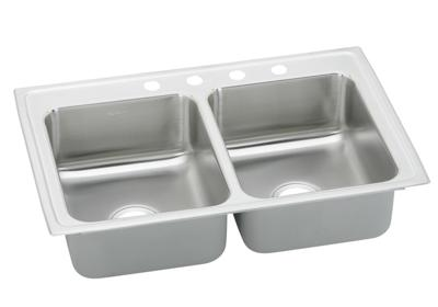 "Image for Elkay Pacemaker Stainless Steel 33"" x 19-1/2"" x 7-1/8"", Equal Double Bowl Top Mount Sink from ELKAY"