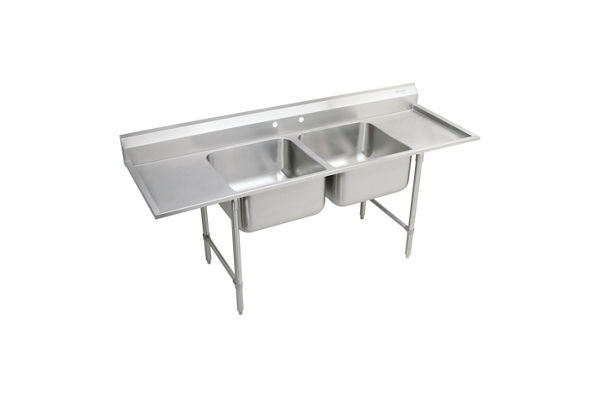 "Elkay Rigidbilt Stainless Steel 77-1/4"" x 29-3/4"" x 12-3/4"" Floor Mount, Double Compartment Scullery Sink Drainboard"