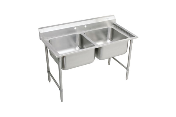 "Elkay Rigidbilt Stainless Steel 59-1/4"" x 29-3/4"" x 12-3/4"", Floor Mount, Double Compartment Scullery Sink"