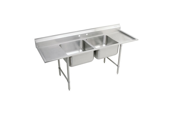 "Elkay Rigidbilt Stainless Steel 89-1/4"" x 29-3/4"" x 12-3/4"" Floor Mount, Double Compartment Scullery Sink Drainboard"