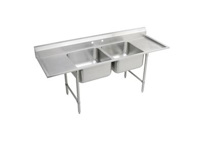 "Image for Elkay Rigidbilt Stainless Steel 89-1/4"" x 29-3/4"" x 12-3/4"" Floor Mount, Double Compartment Scullery Sink Drainboard from ELKAY"