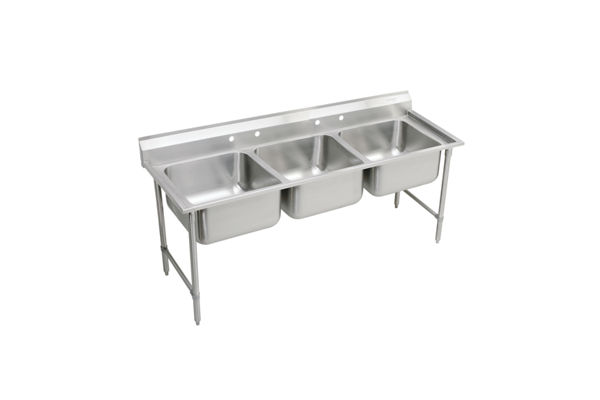 "Elkay Rigidbilt Stainless Steel 67-1/4"" x 29-3/4"" x 12-3/4"", Floor Mount, Triple Compartment Scullery Sink"