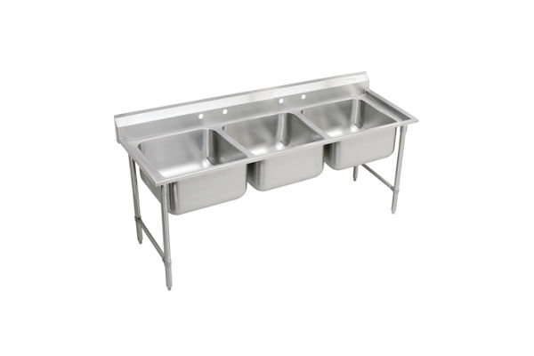 "Elkay Rigidbilt Stainless Steel 85-1/2"" x 29-3/4"" x 12-3/4"", Floor Mount, Triple Compartment Scullery Sink"
