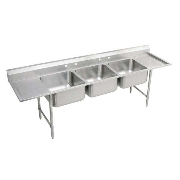 Elkay Rigidbilt Stainless Steel 115 1/2u0026#34; X 29 3/4u0026#34; X 14u0026#34; Floor  Mount, Triple Compartment Scullery Sink W/ Drainboard | ELKAY
