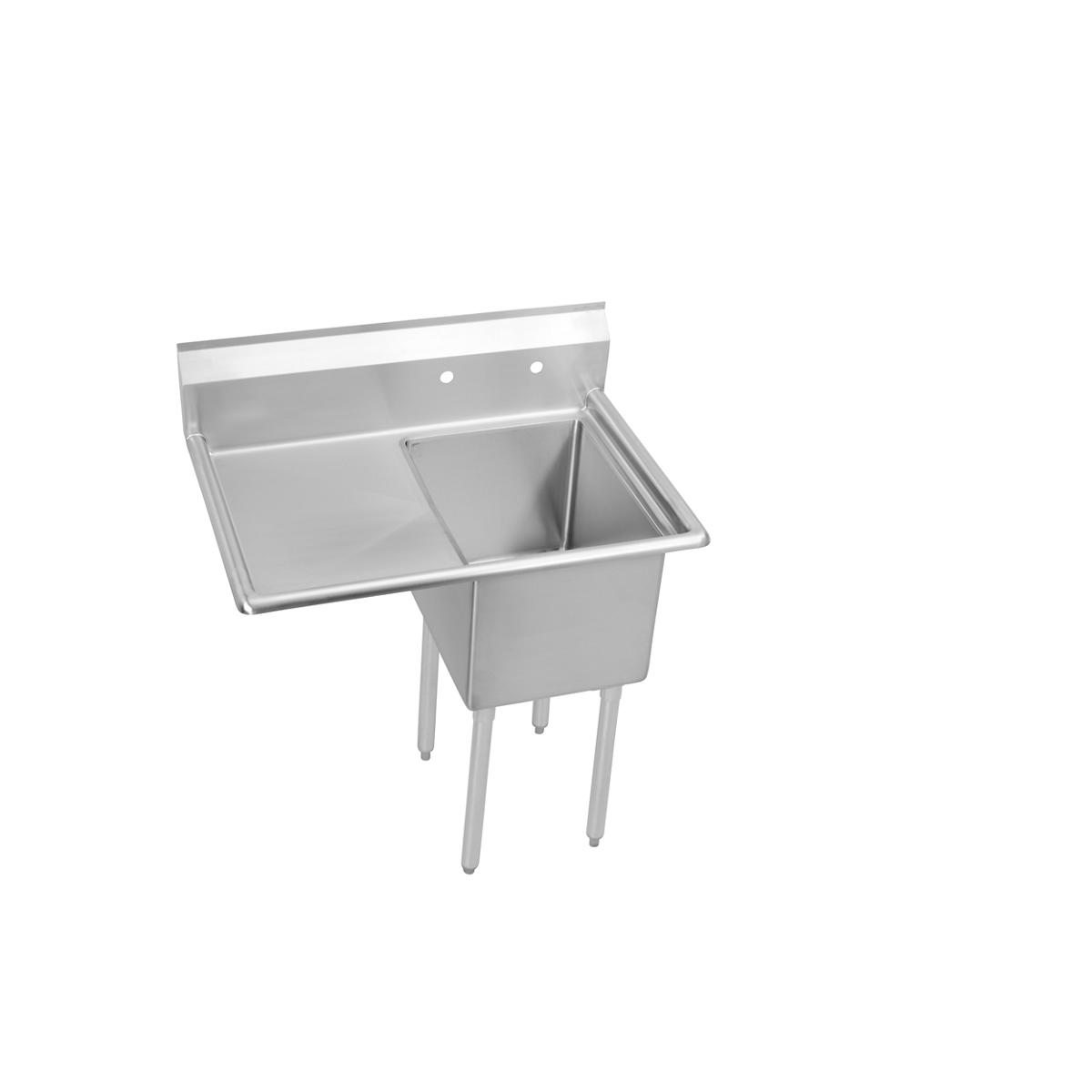 "Elkay 1 Compartment Sink, 51x30 Oa, 24x24 Bowl, 12 Deep, Left 24"" Dbs, Stainless Steel Legs, 18 Ga 300 Series Stainless Steel, Nsf"