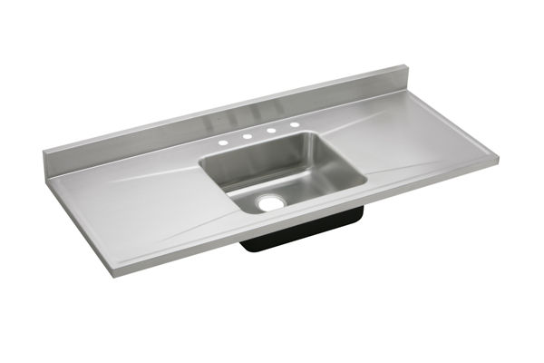 "Elkay Lustertone Classic Stainless Steel 60"" x 25"" x 7-1/2"", Single Bowl Sink Top"