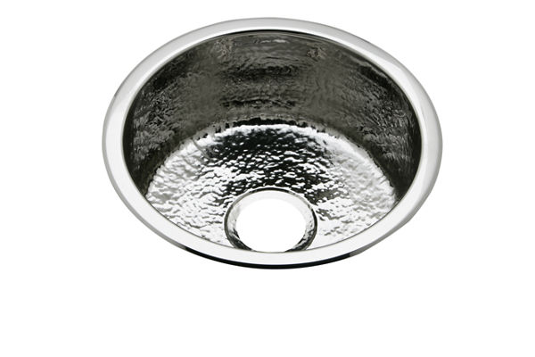 "Elkay Stainless Steel 16-3/8"" x 16-3/8"" x 7"", Single Bowl Dual Mount Bar Sink Hammered Mirror"