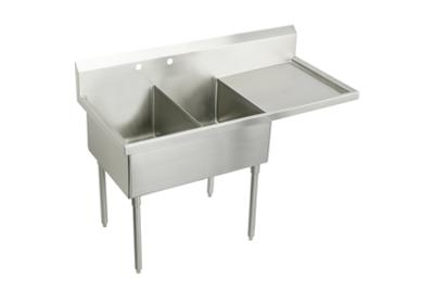 "Image for Elkay Sturdibilt Stainless Steel 79-1/2"" x 27-1/2"" x 14"" Floor Mount, Double Compartment Scullery Sink w/ Drainboard from ELKAY"