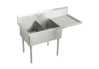 "Image for Elkay Sturdibilt Stainless Steel 85-1/2"" x 27-1/2"" x 14"" Floor Mount, Double Compartment Scullery Sink w/ Drainboard from ELKAY"