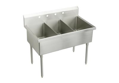 "Image for Elkay Sturdibilt Stainless Steel 57"" x 27-1/2"" x 14"" Floor Mount, Triple Compartment Scullery Sink from ELKAY"