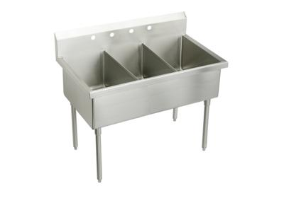 "Image for Elkay Sturdibilt Stainless Steel 75"" x 27-1/2"" x 14"" Floor Mount, Triple Compartment Scullery Sink from ELKAY"
