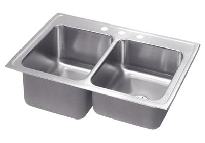 "Image for Elkay Gourmet Stainless Steel 33"" x 22"" x 10-1/8"", Equal Double Bowl Top Mount Sink with Perfect Drain from ELKAY"