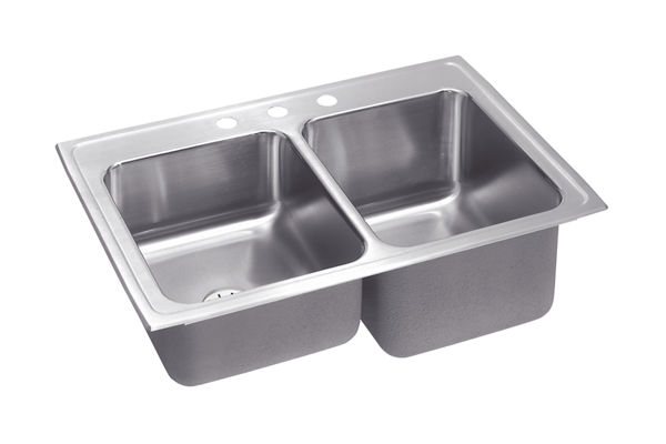 Gourmet (Lustertone®) Stainless Steel Double Bowl Top Mount Perfect Drain Sink