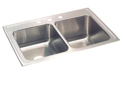 "Image for Elkay Lustertone Stainless Steel 33"" x 22"" x 10-1/8"", Equal Double Bowl Top Mount Sink from ELKAY"