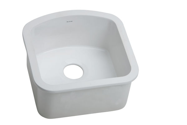 "Elkay Fine Fireclay 17-5/8"" x 17-5/8"" x 8-1/2"", Single Bowl Undermount Sink, White"