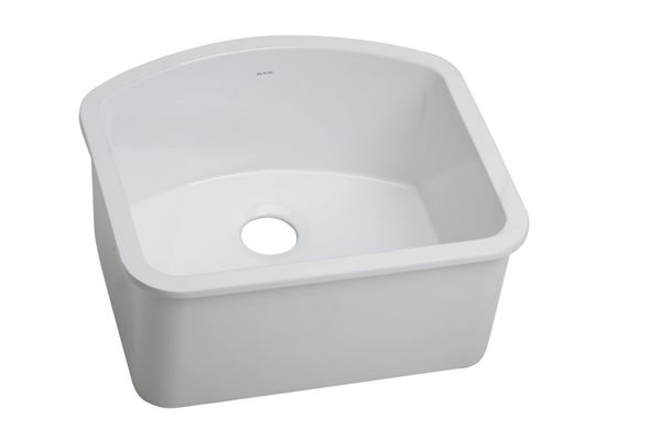 "Elkay Fine Fireclay 23-5/8"" x 21-1/8"" x 10-1/2"", Single Bowl Undermount Sink, White"