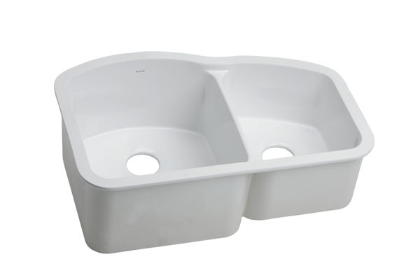 "Elkay Fine Fireclay 30-3/4"" x 20-3/16"" x 10-1/2"", Offset 60/40 Double Bowl Undermount Sink, White"