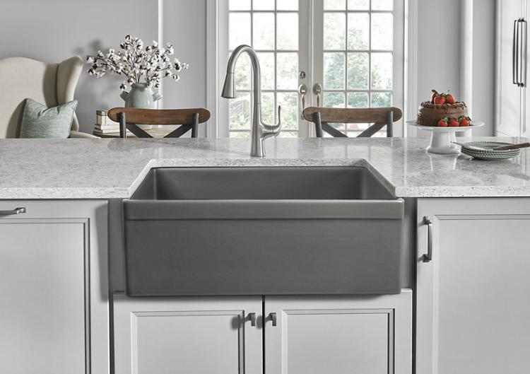 Fireclay Sink in Matte Gray