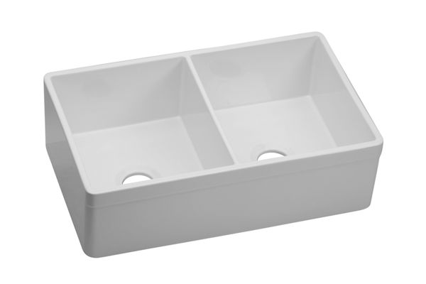 "Elkay Fireclay 33"" x 19-15/16"" x 10-1/8"", Equal Double Bowl Farmhouse Sink"