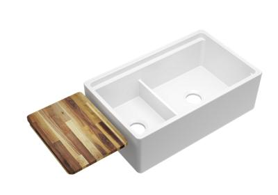 "Image for Elkay Fireclay 33"" x 20"" x 10-1/8"" 60/40 Double Bowl Farmhouse Sink with Aqua Divide from ELKAY"