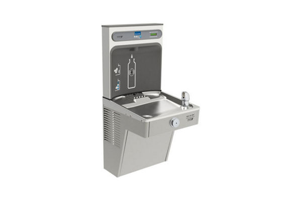 Elkay EZH2O Bottle Filling Station & Single Vandal-Resistant Cooler, High Efficiency Non-Filtered 8 GPH Stainless