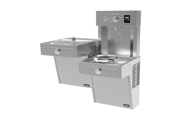 Elkay EZH2O Vandal-Resistant Bottle Filling Station, & Bi-Level Cooler, Non-Filtered 8 GPH Stainless