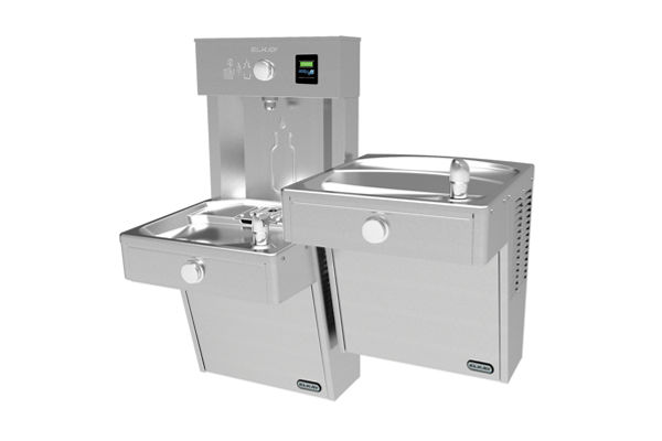 Elkay EZH2O Vandal-Resistant Bottle Filling Station, & Bi-Level Reverse Cooler, Non-Filtered 8 GPH Stainless