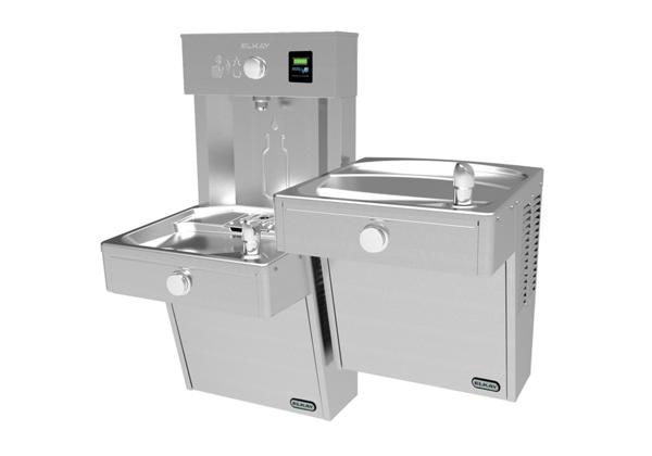 Image for Elkay EZH2O Vandal-Resistant Bottle Filling Station, & Bi-Level Reverse Cooler, Non-Filtered Non-Refrigerated Stainless from Elkay Latin America
