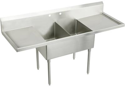 "Image for Elkay Weldbilt Stainless Steel 96"" x 27-1/2"" x 14"" Floor Mount, Double Compartment Scullery Sink with Drainboard from ELKAY"