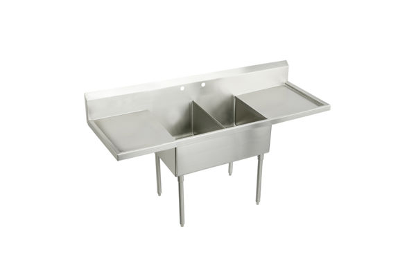 "Elkay Weldbilt Stainless Steel 108"" x 27-1/2"" x 14"" Floor Mount, Double Compartment Scullery Sink with Drainboard"