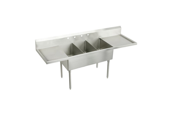 "Elkay Weldbilt Stainless Steel 108"" x 27-1/2"" x 14"" Floor Mount, Triple Compartment Scullery Sink with Drainboard"