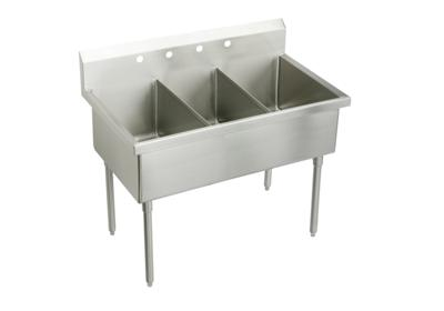 "Image for Elkay Weldbilt Stainless Steel 75"" x 27-1/2"" x 14"" Floor Mount, Triple Compartment Scullery Sink from ELKAY"
