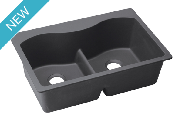 "Elkay Quartz Luxe 33"" x 22"" x 9-1/2"", Equal Double Bowl Top Mount Sink with Aqua Divide"