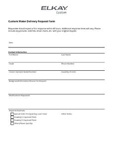 Custom Water Delivery Request Form