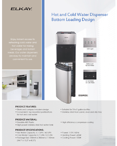 Hot and Cold Water Dispenser Bottom Loading Design (INTL-4749)