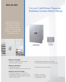 Hot and Cold Water Dispenser Bottless Surface Mount Design (INTL-4752)