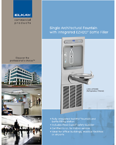 Single Architectural Fountain with Integrated EZH2O Bottle Filler (F-4593)