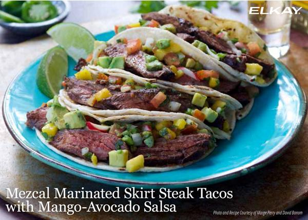 Mezcal Marinated Skirt Steak Tacos with Mango-Avocado Salsa